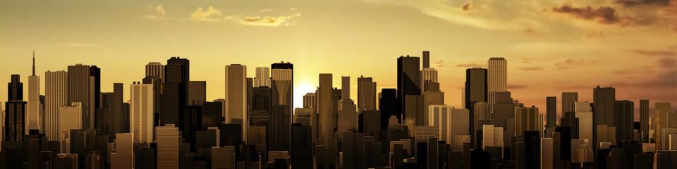 Sunrise-sunset city panorama / 3D render of modern city at sunrise or sunset