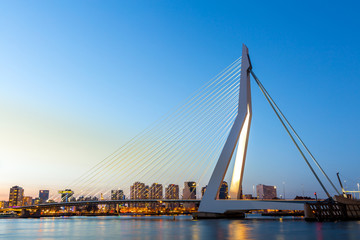 Photo sur Aluminium Pont Erasmus bridge Rotterdam