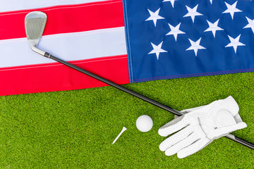 top view - the American flag and the equipment for golf