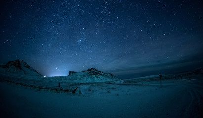 Night sky and Milky Way in the mountains
