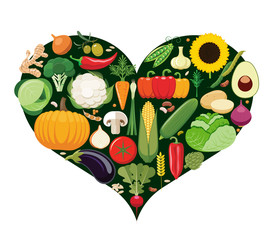 Set of vegetable icons forming heart shape. Vegetarian food icons.