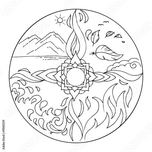 Quot Coloring 4 Elements Mandala Diksha Earth Air Fire Water