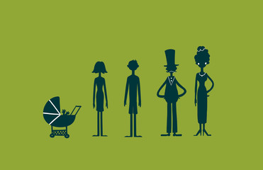 Family characters silhouette on green screen background. Digital background raster illustration.