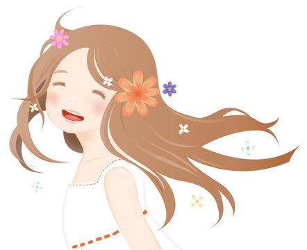 笑顔がかわいい女の子が振り返る様子と花のイラスト