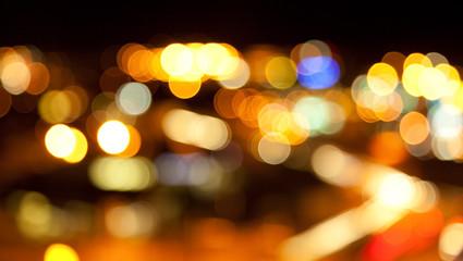 golden bright lights on dark night background