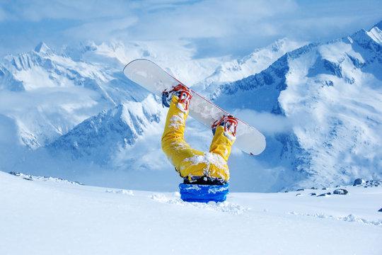 Snowboarder stuck in deep snow