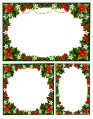 collection of beautiful decorative frames, garlands of holly, fl