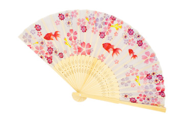 traditional japanese fan isolated white background