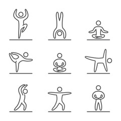 Outline yoga icons set