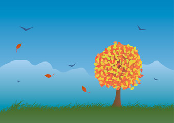 Autumn landscape in vector