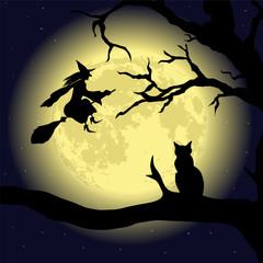 Black Cat on the Tree at full Moon