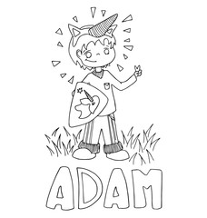 The simple outline drawing for coloring with the image of children of different name characters and education on the white background