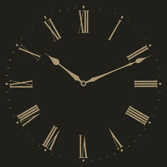 Clock illustration on black background.