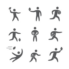 Silhouettes of figures american football player icons set