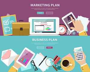 Flat style concept set of business plan and marketing plan in web design
