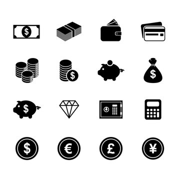 Money icons. Finance icon. Currency icon. Silhouette. Buttons. V