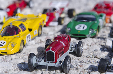 Models of a classic cars in the sun