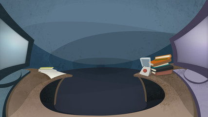 Table with two computer monitors displayed side by side. Digital background raster illustration.