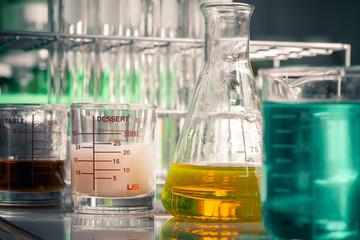 Laboratory glassware containing chemical liquid