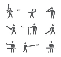 Silhouettes of figures cricket player icons set