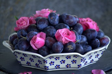 Plums and roses