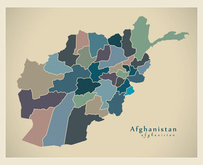 Modern Map - Afghanistan with provinces political AF