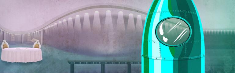 Spaceship model decoration in a fancy restaurant. Interior design digital background raster illustration.