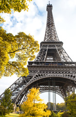 Famous Eiffel Tower in autumn