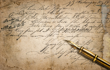 Old letter with calligraphic handwritten text and vintage ink pe