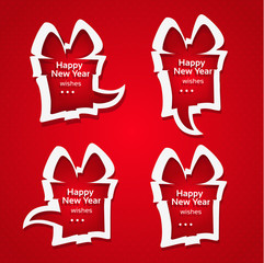 Christmas applique speech bubbles with Happy New Year wishes on