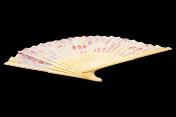 traditional japanese fan isolated black background