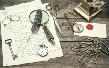 Vintage office supplies and writing accessories