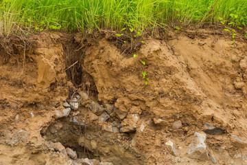 Cliffs, rocky soil erosion grass