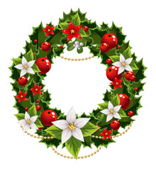 Christmas green and red embellishment with the decorative garlan