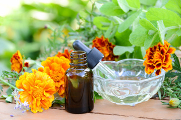 massage oil with herbs and calendula