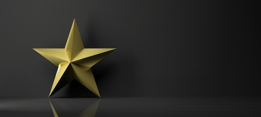Golden star icon with reflection,isolated on black background