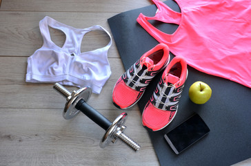 sneakers, clothing for fitness
