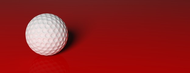 Golf ball, isolated on red background