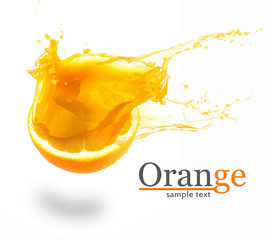 Orange juice splashes isolated on white