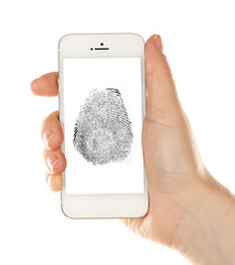 Fingerprint  on screen of smartphone. Mobile security concept
