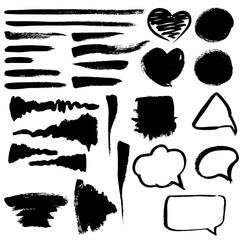 Brush strokes, hearts and bubbles