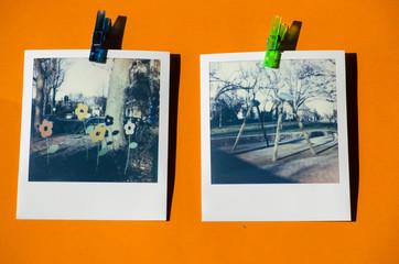 Vintage polaroid snapshots of orange background