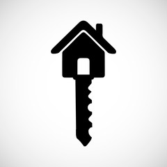 House key black icon for web real estate template. Vector