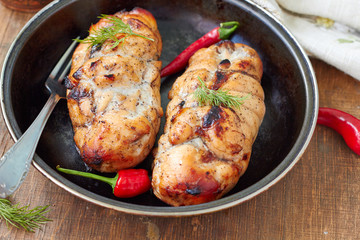 Healthy dinner - baked chicken breast ,horizontal