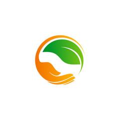 save green leaf organic hand logo
