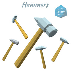 Set of hammers isolated on white background. Low poly style. Vec