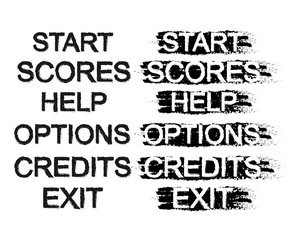 Set of video game menu buttons. Grunge. Black and white