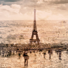 multiple exposure of different pictures of Paris, France