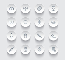 medicine, health care, pharmaceutics, hospital, line round icons pack