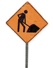 real dirty construction road sign on white background
